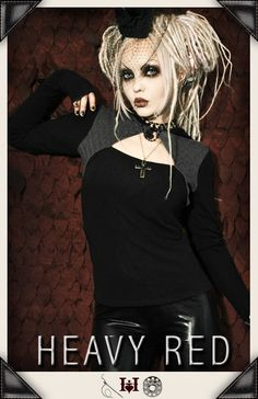 Heavy Red - Noir Herringbone Hoodie : Gothic Clothing, Gothic Boots & Gothic Jewellery. New Rock Boots, goth clothing & goth jewellery. Goth boots and alternative clothing