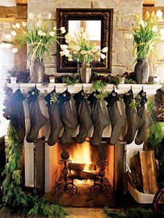 color palettes, family christmas, christmas fireplace, christmas decorations, christma decor, christmas stockings, garland, christmas mantles, christmas mantels