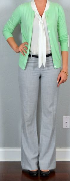 Outfit Posts: outfit post: mint cardigan, white tie neck blouse, grey editor pants, black wedges