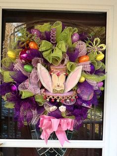 Mesh Easter bunny Wreath  by WreathsEtc on Etsy, $165.00
