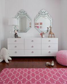 pink white girl's room, white dresser, Venetian mirrors, pink pouf. Maybe k's room?!