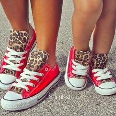 Mother-daughter chucks... I am totally going to get these. The leopard?! Heck yea
