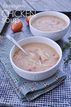 Chicken  Tarragon Soup @yourhomebasedmom.com #soup #recipes