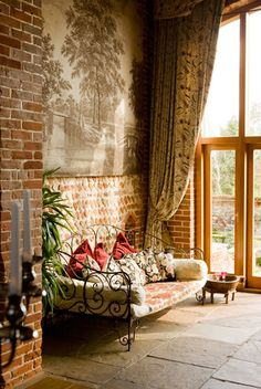 living rooms, window curtains, bed, bricks, wrought iron, exposed brick, place, dream houses, porch
