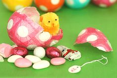 Paper easter eggs!! papermach, polka dots, decoration crafts, candies, paper mache, papers, easter eggs, papier mache, easter ideas