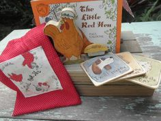 Wooden Toy Set Little Red Hen Story Book Series Waldorf Inspired.