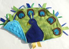 Peacock taggie blanket.