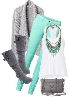 mints, fashion, boot, mint green, color combos, colors, outfit, grey, shoe