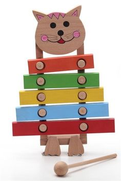 Handcrafted wooden cat xylophone, natural, organic wooden toys for kids. via Etsy.