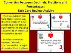 Converting between Decimals, Fractions and Percentages - T