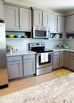 Utah Valley Parade of Homes - kitchens - gray cabinets, gray kitchen cabinets, shaker cabinets, gray shaker cabinets, gray shaker kitchen cabinets, granite counters, granite countertops, granite kitchen counters, granite kitchen countertops, blue glass tile