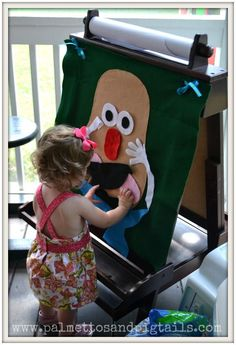 DIY Mr. Potato Head Felt Board - Palmettos and Pigtails Great for so many things! Language, body awareness, upper body strength/endurance (reaching to place parts), following directions, sensory #kids #baby