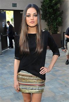 so cute...love this simple black top with the amazing sparkly skirt.