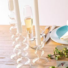 Shimmering glass candleholders from CB2