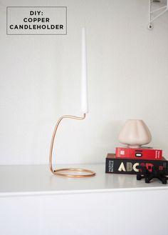 copper candlestick-holder