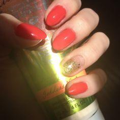 Orange and gold nails