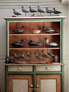 Nice collection display wood bird, decoy duck, shore bird