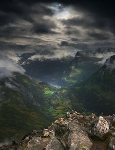 view from the Dalsnibba into the Geirangerfjord. Norway