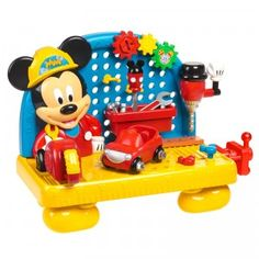 Offers a fun and interactive 30-piece work station where Mickey Mouse fans can pretend to hammer, saw, and even repair a car.