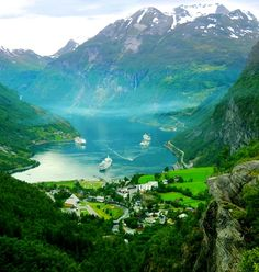 Boats sailing in Geirangerfjord, Sunnmore region. Norway.