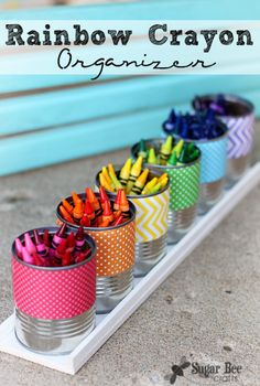 Keep your kids' crayons organized with this inexpensive and pretty DIY organizer!