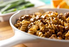 """Skillet Mac & Beef:  This saucy pasta and ground beef dish uses ingredients you always have on hand, so it's a perfect answer to """"what's for dinner (This is one of our favorite dinner meals in my home!)"""