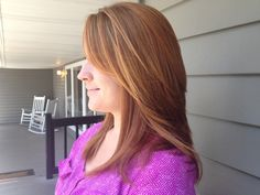 Beautiful light auburn with golden blonde and copper highlights Keratin complex Kera Hold and it's a Blond Thing lightner made this color amazing!