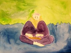 Vainamoinen playing the Kantele. Finnish mythology - Kalevala block grade 4 Waldorf homeschooling. Oil crayon and watercolor. www.syrendell.com