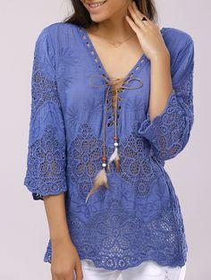 Stylish V-Neck Lace-Up Crochet Panelled 3/4 Sleeve Blouse For Women