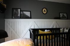 i love yellow and gray! vintage train room for little boys!