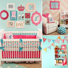 Hot pink and aqua are bold choices for a #nursery — but they look sweet! #pinparty