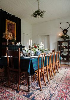 Plaid tablecloth, rug, antlers