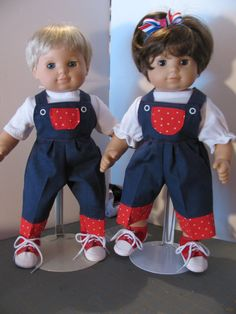 Patriotic Overalls Play Set for the Twins  by LindaK7