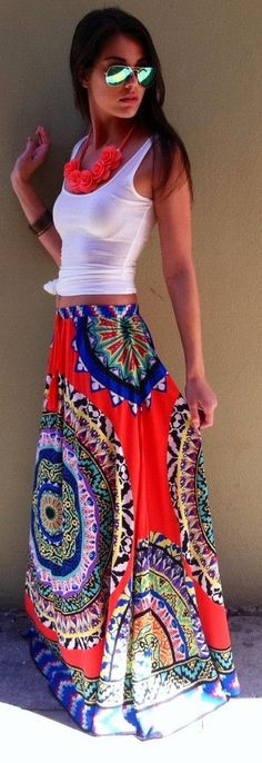 blouses, printed maxi skirt, orange maxi skirts, long skirts, necklac