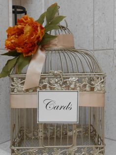 Birdcage Wedding Card Holder / Champagne Gold by YesMoreFunk