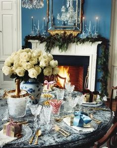 Aerin Lauder's Hamptons home decorated for Christmas.