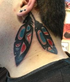 Haida Feathers done at Junkyard Ink in Louisville, Colorado by Derek Poitra. Artwork was drawn by myself and this was a pretty painful tattoo but well worth it! I got these to represent my native american heritage and was please to have a fellow native do my ink!
