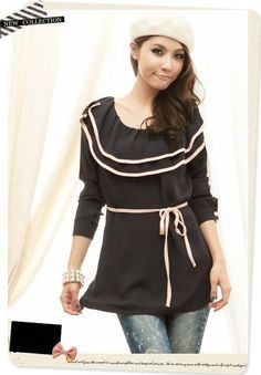 Beautiful Mixed Colors Double-layer Collar Chiffon Shirt Black