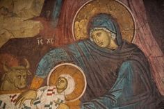 Detail of the Infant Christ and the Theotokos from a fresco of the Holy Nativity of Christ from Decani Monastery