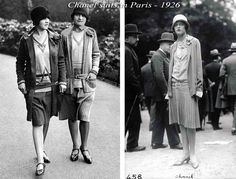 Coco-Chanel-suits-Paris-1926 1920's Day Wear  The middy blouse, which American women had for some time found practical, had  arrived in Europe in 1917 along with the American troops. Its impact was considerable, inspiring practical young designers like Coco Chanel to incorporate jersey and other traditionally male fabrics, to create the first genuine casual clothing for European women. #Downton #Fashion