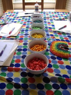 Colored pasta rainbows at a St. Patrick's Day Party