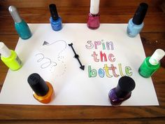 Spin the Nail Polish Bottle  Place five different colors in a circle, and use clear coat for the spinner. Whatever color it lands on, the child must paint one of their fingernails. The game continues until all girls have painted. Girls love this game.