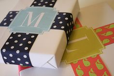 Free Monogrammed Gift Wrap Labels by For Chic Sake.