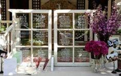 wedding seating charts, window pane, old windows, rustic weddings, seating plans, table seating, rustic wedding decorations, rustic chic weddings, diy wedding