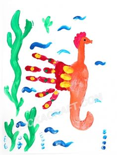 Handprint Seahorse - Click on image to see step-by-step tutorial.