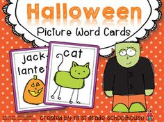 Halloween Picture Word Cards. $ Word wall, small group, student lists for Halloween.