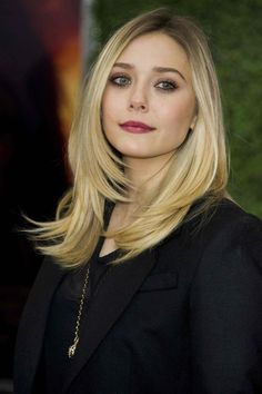 sleek straight hair / elizabeth olsen
