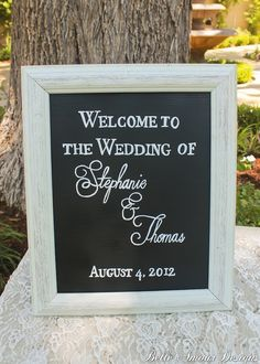 Chalkboard Wedding Welcome Sign by Belle Amour Designs