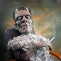 Boris Karloff as Frankenstein's monster, sculpture by Bill Nelson