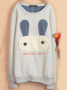 Gray Rabbit Cartoon Fleece Sweatshirt$39.00